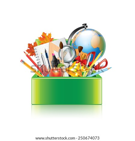 School supplies box isolated on white photo-realistic vector illustration - stock vector