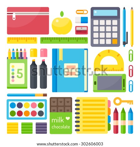 School supplies from student's backpack. Vector flat illustration, no transparencies.  - stock vector