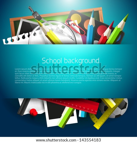 School supplies on blue background with place for text - stock vector