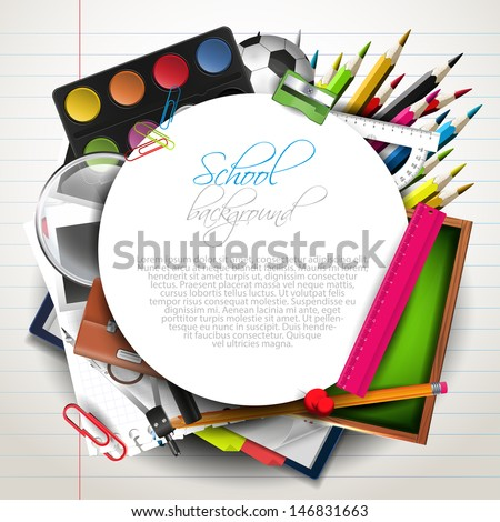 School supplies with copyspace  - stock vector