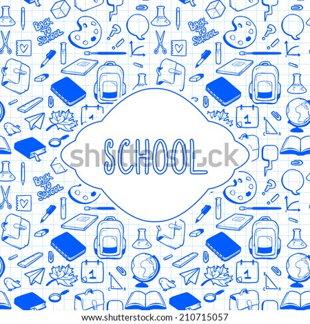 School theme card design, various hand drawn school elements - stock vector