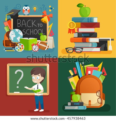 School theme set. Back to school, books, schoolboy, backpack and other elements. Vector illustration. - stock vector