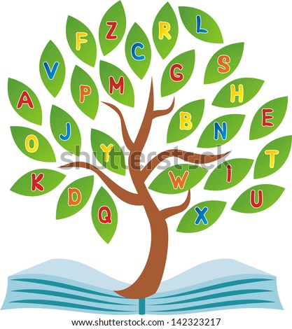 School tree book vector illustration - stock vector