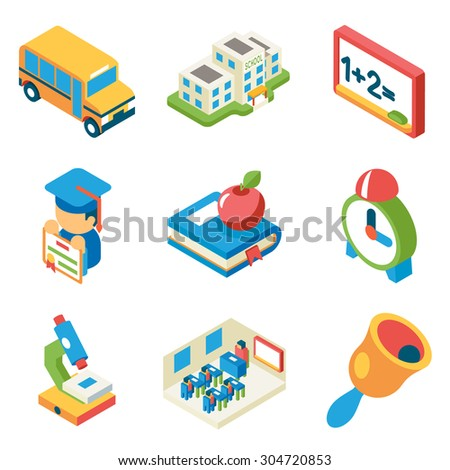 School, university and education isometric 3d flat icons. Bus and building and microscope, diploma and bell, book and apple, vector illustration - stock vector