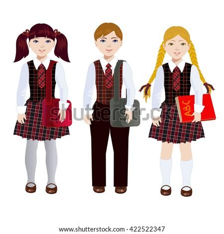 Schoolboy and schoolgirl in uniform. The boy with a bag on his shoulder. Children go to school. - stock vector