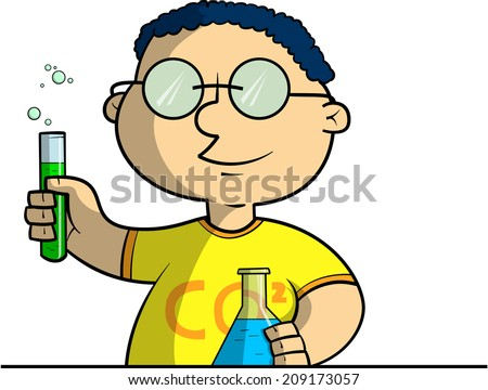 Schoolboy doing chemical experiments - stock vector