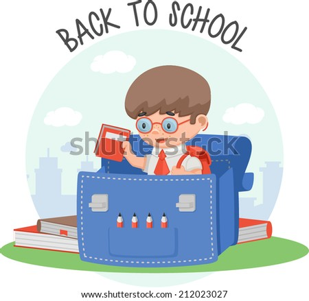 schoolboy education backpack book - stock vector