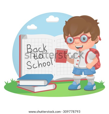 Schoolboy school education book - stock vector