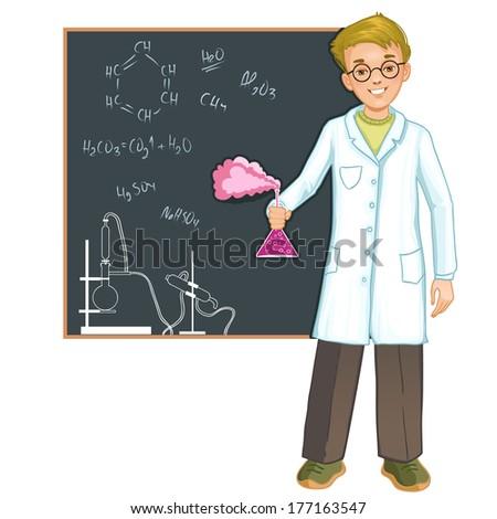 Schoolboy with retort at blackboard, eps10 - stock vector