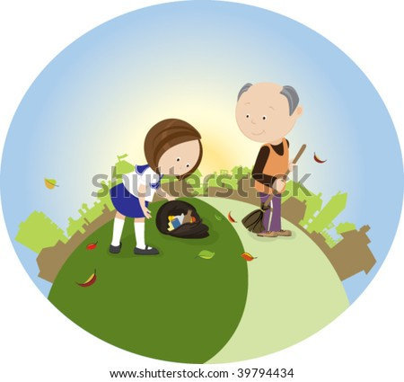 stock-vector-schoolgirl-and-her-grandfat