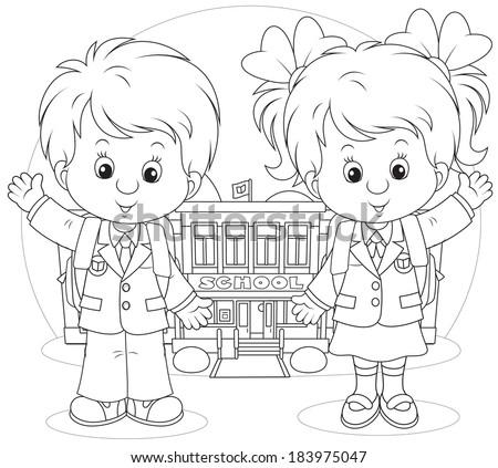 Schoolgirl and schoolboy before a school - stock vector