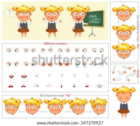Schoolgirl. Parts of body template for design work and animation. Face and body elements. Funny cartoon character. She nodded her head yes. She shook her head no. Vector illustration. Set - stock vector