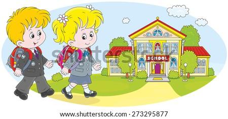 Schoolgirl, schoolboy and their school - stock vector