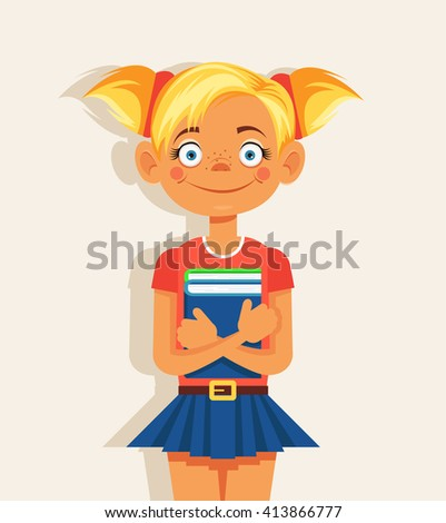 Schoolgirl with book. Vector flat cartoon illustration - stock vector