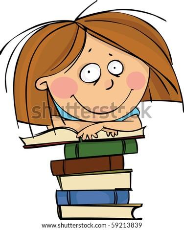 Schoolgirl with huge pile of books - stock vector