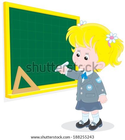 Schoolgirl writes on the blackboard - stock vector