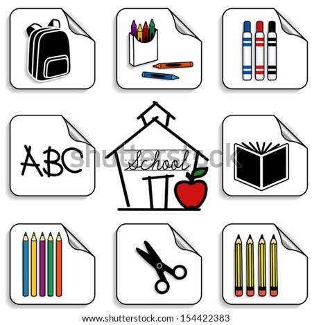 Schoolhouse Stickers. Backpack, colored pencils, book, markers, crayons, scissors. ABC, apple for the teacher.  Back to school, scrapbooks, preschool, daycare, arts, crafts, literacy projects. EPS8. - stock vector