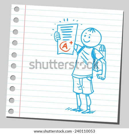 Schoolkid holding school exam test - stock vector