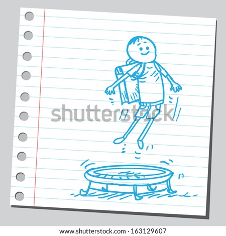 Schoolkid on a trampoline - stock vector