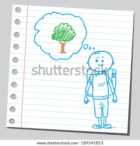 Schoolkid think about tree - stock vector