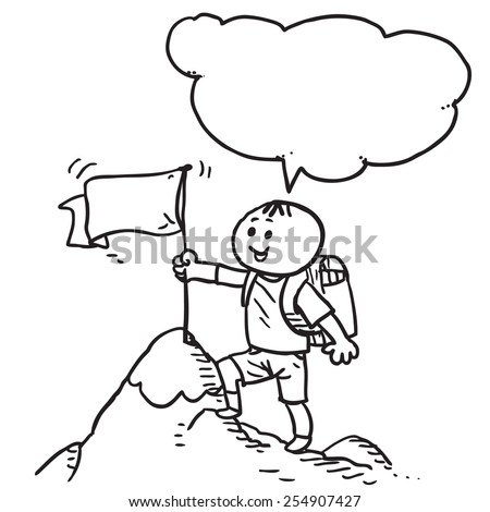 Schoolkid with flag on top of the hill speaking - stock vector