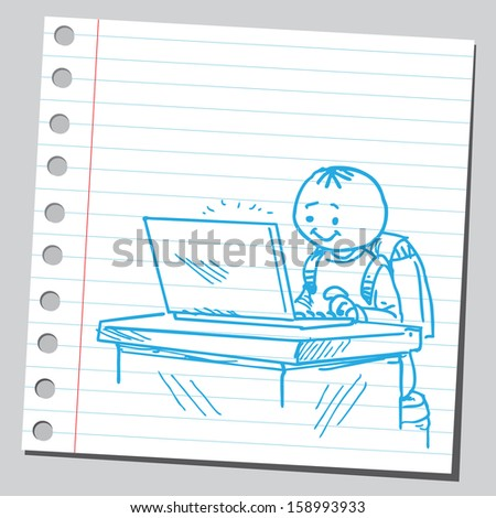 Schoolkid with lap top - stock vector