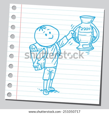 Schoolkid with trophy cup  - stock vector