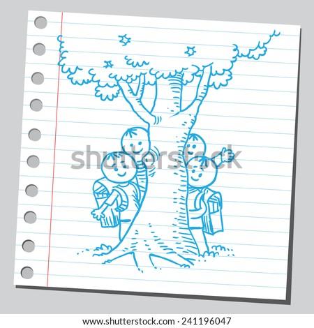 Schoolkids behind tree - stock vector
