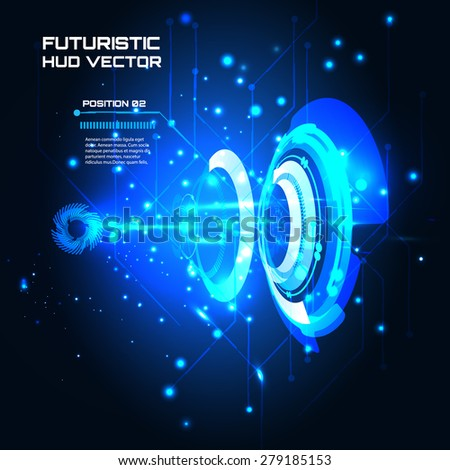Sci fi Futuristic user interface, infographics, HUD, technology vector background - stock vector