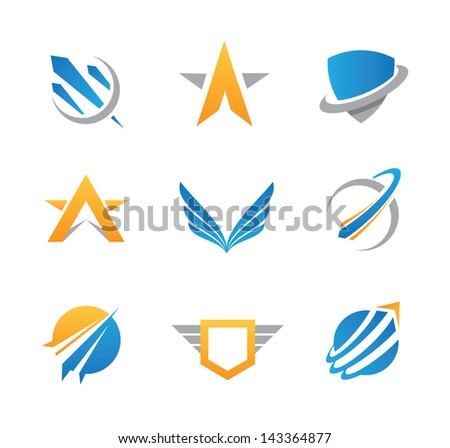 Sci fi military logo action symbols and icons - stock vector