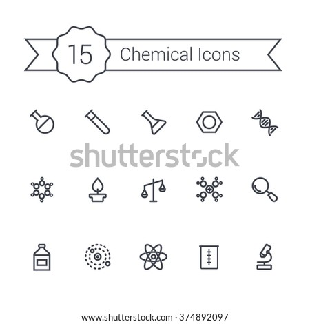 Science and chemical outline icon set. Science line icon set. Chemical icons of molecule, tube, flask, benzene and other chemical elements. - stock vector