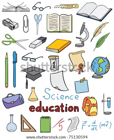 science and education color icons vector collection - stock vector