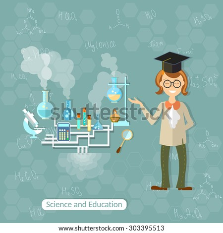 Science and education professor teacher research chemistry experiment laboratory students back to school college university physics test tubes reaction vector illustration - stock vector