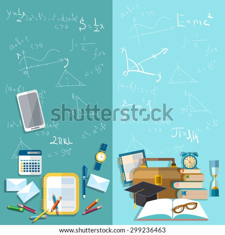 Science and education school board mathematical formulas table student school university college exams study exercise books pencils vector banners - stock vector