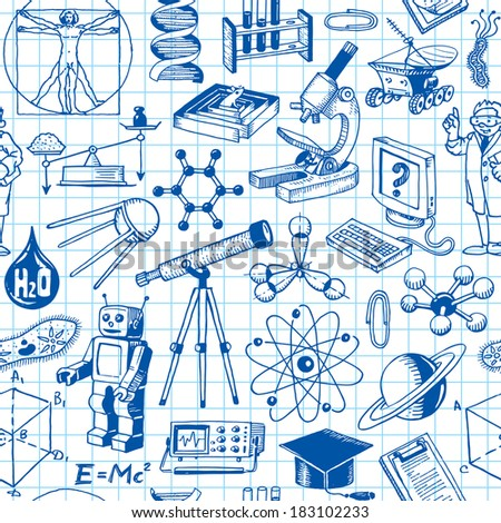 Science And Education Seamless Pattern Background Vector - stock vector