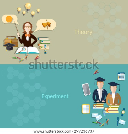 Science and education students learning teacher classroom biology school college university experiment books examinations textbooks lessons vector banners - stock vector