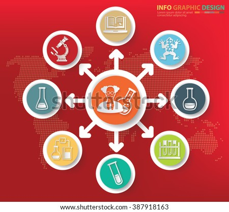 Science and learning concept info graphics design,clean vector - stock vector