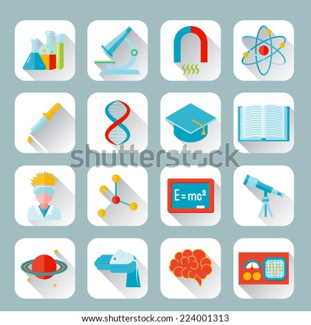 Science and research icon flat set with flask microscope magnet atom isolated vector illustration - stock vector
