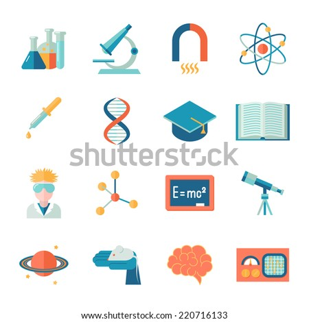 Science and research icon flat set with microscope tube atom isolated vector illustration - stock vector