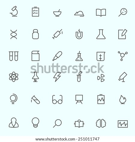 Science and research icons, simple and thin line design - stock vector