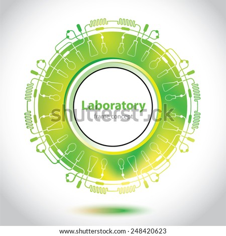 Science and Research - laboratory research - circle element - stock vector