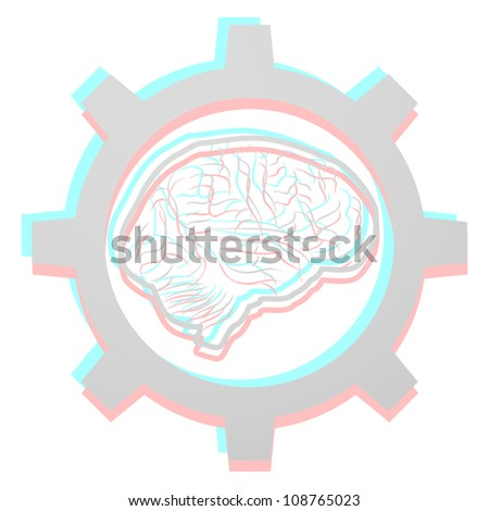 Science brain effect - stock vector