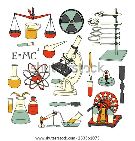 Science chemistry and physics scientific decorative colored sketch icons set isolated vector illustration - stock vector