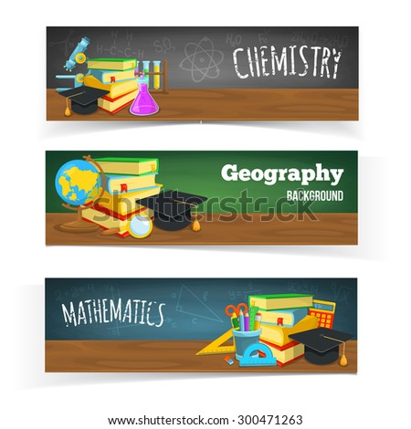 Science classes headers. Education banners design. Colorful school objects and text. - stock vector