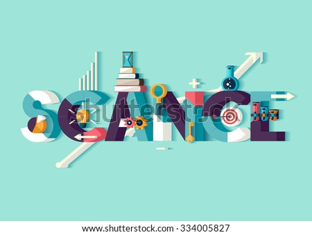 Science concept.Typographic poster. - stock vector