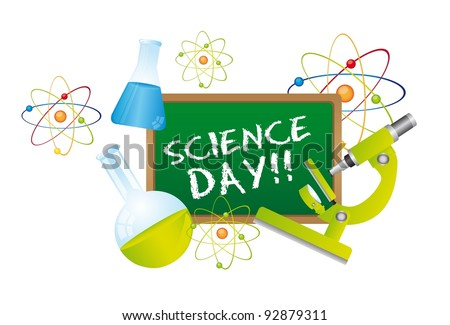 science day text over chalkboard with science elements. vector - stock vector