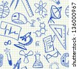 Science doodles on school squared paper, seamless pattern - stock vector