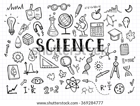 Science doodles on white grid paper background - stock vector