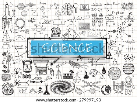 Science doodles on white grid paper background with light blue transparent frame. - stock vector