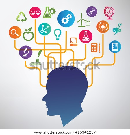 science, education infographic,  idea, brain and creativity concept - stock vector